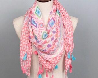 Summer Scarf, Scarf with tassel, Pink tassel scarf, Pink Aztek scarf