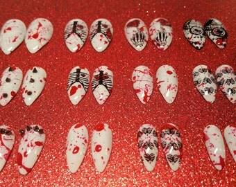 Bloody Valentine's Nails | Blood Splatter | Blood Splattered Nails | Anti-Valentine's | Goth | Grunge | Spike Nails| Press on Nails | Nails