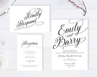 Simple wedding invitations printed / Calligraphy wedding invitation + rsvp postcard + info card | Elegant wedding invitations