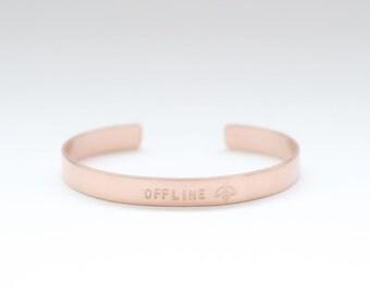Offline - Gold Plated Brass Bracelet - Motto Stamped Bracelet - Traveler / Wanderlust Bracelet