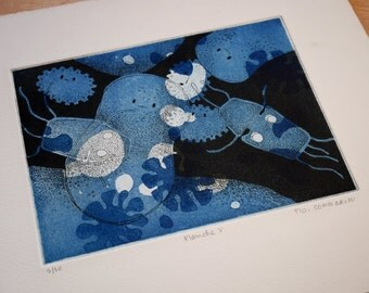 Engraving Animalcules Paramecia - Print etching aquatint - printing paper black and blue ink - characters microscopic ghosts