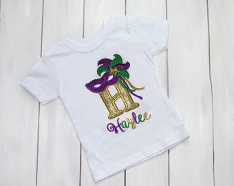 Mardi Gras Mask Shirt - Girls Mardi Gras Shirt - Girls Mardi Gras Outfit - Fat Tuesday Outfit - Glitter Mardi Gras Mask Shirt