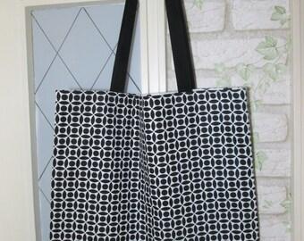 Tote bag shopping bag of retro circles black white long handle