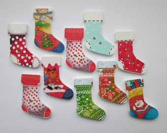 Christmas boots 10 wooden buttons in the set, 30 x 20 mm
