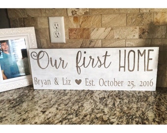 First Home Wood Sign Decor