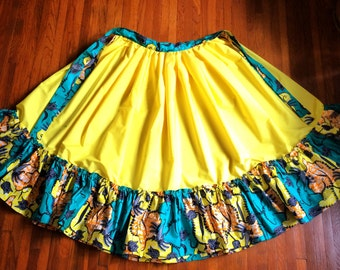 Carnation Yellow Dance Skirt with Waxprint Accents: custom made, gathered skirt (various colors/patterns available)
