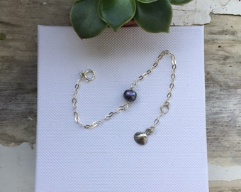 Black pearl sterling silver bracelet