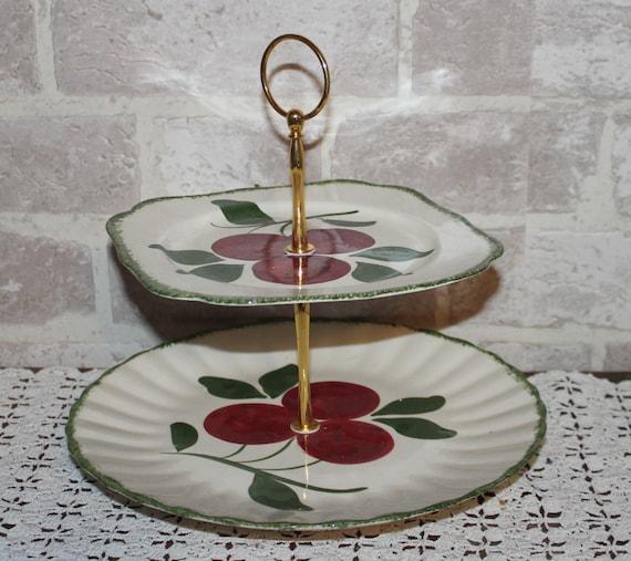 Cake Stand Kitchen Art : 2 tier cake / dessert stand Blue Ridge Pottery Apple Trio