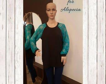 Women's teal blue lace long sleeve shirt, women's long sleeve shirt, women's lace shirt