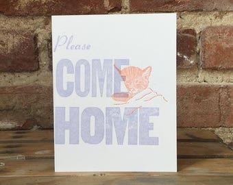 Please Come Home Letterpress Card