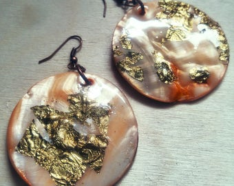 BIG EARINGS christmas gift orange gold foil gift for her girlfriends bff