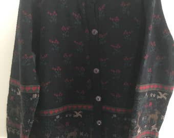 VINTAGE 1990s Cardigan // Size S // Fairisle Floral, Hearts and Forest Scene // Wool/Acrylic Blend // Made in Australia
