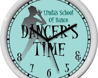 "Dancer's Time Jazz 10"" Turquoise Wall Clock Personalized Gift & 5 6 7 8 Dance Studio Girl's Room Gift"