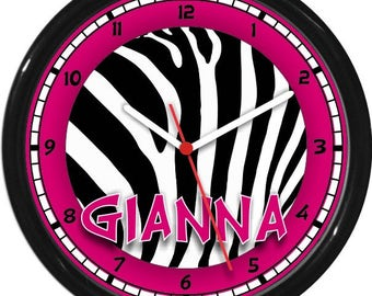 """Pink and Black Zebra 10"""" Wall Clock Personalized Girls Room Decor Gift"""