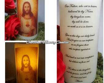Jesus LED candle with The Lords Prayer on reverse