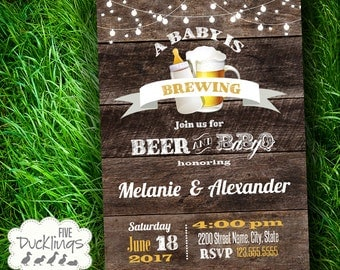 Printable Baby is brewing Invitation, Rustic Invitation, baby shower invite, Printable Digital Invitation, B259