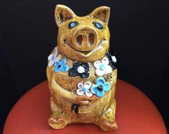 70s Pig Cookie Jar, Enesco Japan Smiling Gold Piggy with Flowers Ceramic Cookie Jar