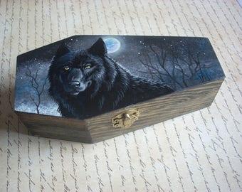 Coffin Box- Black Wolf
