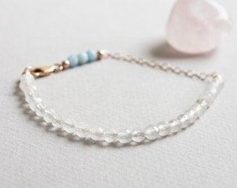 Delicate Rose Quartz & Aquamarine Gemstone Bracelet w/ 14k Rose Gold, Minimal Healing Beaded Jewelry 4mm Pink Blue Semi Precious Stone Beads