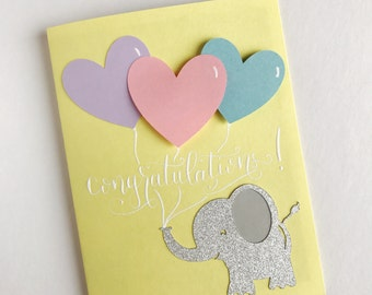 Baby Shower Card, Baby Shower, Elephant Card, Baby Elephant