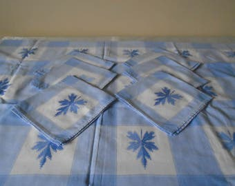 blue linen table cloth x 6 napkins