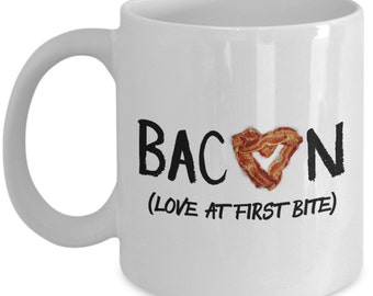 Funny Coffee Mug Gifts for Bacon Lovers - Bacon Love At First Bite