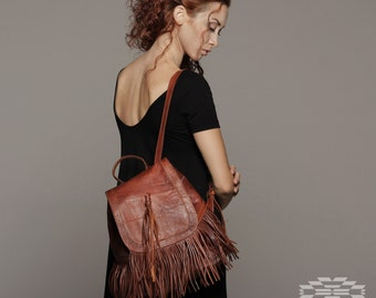 Leather Backpack, Shoulder bag, boho leather backpack, festival backpack, moroccan leather, boho bag