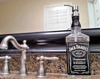 Clear Coat! Jack Daniels Whiskey Soap Dispenser / Jack Daniels Decor Boyfriend / Glass Soap Dispensers Dish Soap Whiskey Gift Whiskey Lover