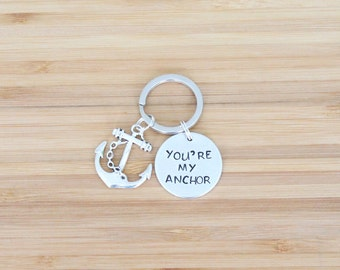 hand stamped keychain | you're my anchor