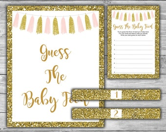 Pink and Gold - Baby Shower - Guess The Baby Food - Game - Sign - Cards - Printable - Instant Download - Pink - Gold - Tassels - 094