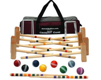 Family Traditions 8 Player Wooden Croquet Set, Amish Made