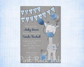 Giraffe baby shower printable invitation set Blue grey baby boy digital invite with inserts thank you bring a book Diaper Raffle card