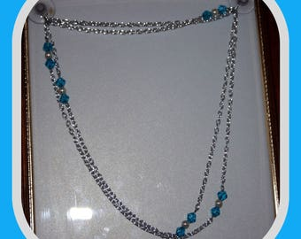 Long Silver Chain Accented with Pearls and Blue Glass Beads