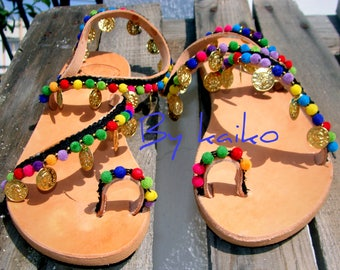 Women sandals, Handmade sandals, greek leather sandals, boho sandals, pompom sandals, ethnic sandals, colourful sandals, Made in Greece