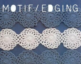 Motif Edging Lace floral applique Lace applique motifs Crochet edging Motif crochet Edging lace  Pdf file