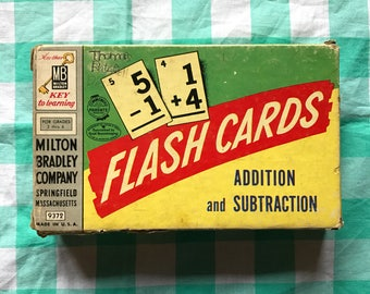 Milton Bradley addition and subtraction flash cards 1957