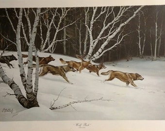Wolf Pack Signed Print by Guy Coheleach