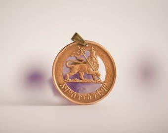 Ethiopia Cut Coin Necklace in Bronze Colour. 5 Santeem, 1944, Ethiopian Coin. Lion, Handmade