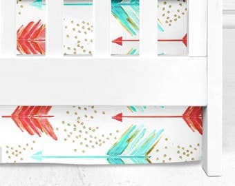 Coral and Mint watercolor arrow crib sheet, tribal nursery, baby bedding, baby girl