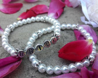 BRIDE-Glass Pearls Bracelet Set