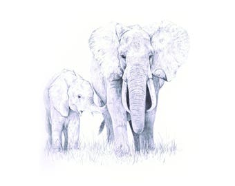 Elephant Family Fine Art Animal Giclee Print