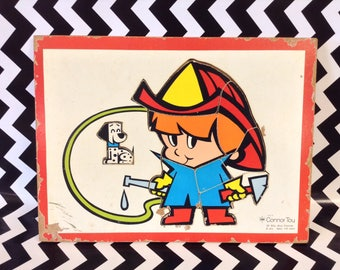 Billy Blue Fireman~Connor Toys~Board Puzzle~Fireman~Vintage Puzzle~Toy~8 Pieces~2-6 Years of Age