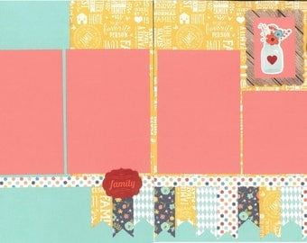 12x12 OUR FAMILY scrapbook page kit, premade scrapbook kit, 12x12 premade page kit, premade scrapbook pages, 12x12 scrapbook layout