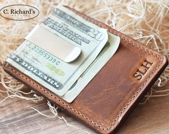 Leather Money Clip Wallet, Money Clip wallet, Money Clip, Leather card holder, card wallet, Cash Money Clip, Minimalist wallet ~