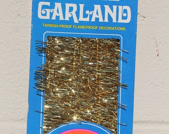 Vintage Christmas Tinsel Garland Gold by National 15 Ft