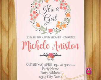 Baby Shower Floral Invitation - Spring - Flower - Watercolor - Baby Girl - Baby Shower Invitation - Printable Invite - Digital File