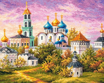Cross Stitch Kit Sergiev Posad. The Trinity-Sergius Lavra