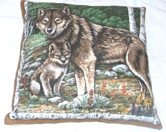 A Wolf with her cub in the forest cushion