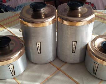 Four Vintage Spun Aluminum Kitchen Cannisters