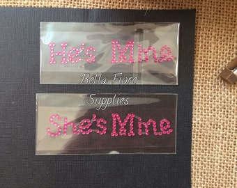 He's Mine She's Mine Pink Rhinestone Crystal Shoe Stickers- Crystal Shoe Stickers- Wedding Stickers- Rhinestone Shoe Photo Prop